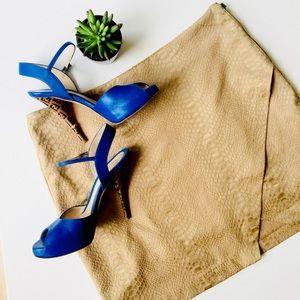 Very J Tan Slit Mini Skirt Faux Reptile Textured